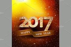 Happy new year 2017 gold background. Christmas Patterns. $4.00