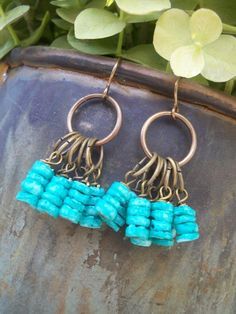 Boho style TURQUOISE and brass Dangle Earrings