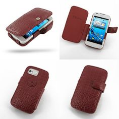 PDair Leather Case for Acer Liquid Gallant Duo E350 - Book Type (Red/Crocodile Pattern)
