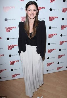 Rachel Bilson at Fashion's Night Out is a perfect example of how to wear a maxi during the colder seasons. She kept it simple and chic with neutral colors and a cropped blazer.