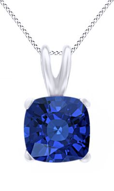 Jewel Zone Us Women's Classic Birthstone Cushion Shape Pendant Necklace in 10k Solid White Gold (2 cttw). Crafted in 10K Solid White Gold. The fashion Pendant enhance with the Blue Sapphire Birthstone of September month bring you GOOD LUCK. Find a special gift for a loved one or a beautiful piece that complements your personal style with jewelry from the Jewel Zone US Collection. Note: Due to the difference between different monitors, the picture may not reflect the actual color of the…