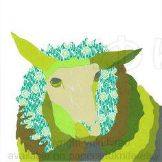 Click here to see my new work: The Green Sheep Portrait 8X8 Wall Art Print by PAPERandKNIFE, $25.95