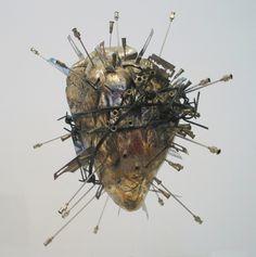 "vudulicius: "" The Sacred Heart of Jesus - Damien Hirst "" Art Sculpture, Damien Hirst, Found Object Art, Anatomical Heart, My Funny Valentine, Valentines, Arte Horror, Anatomy Art, Vanitas"
