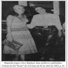 """Magnólia Lapa e Necy Raphael. Coluna do Gil """"Gente"""" do A Crítica de 02 de abril de 1982."""