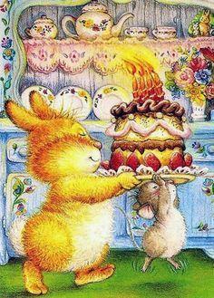lisi martin conejo, ratón y tarta de cumpleaños.,