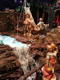 Blue paper, hot glue strings and stacked large chip mulch create a stream in the countryside. Christmas Nativity Set, Christmas Figurines, Christmas Villages, Family Christmas, Christmas Holidays, Bless Us O Lord, Fontanini Nativity, Christmas In Italy, Portal