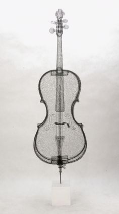 """Cello"" - wire sculpture by Shi Jindian (2011)"