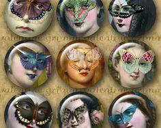 """Digital 1 """"Máscaras da borboleta círculos para Download imediato - Senhoras do vintage no Surreal Collage"""
