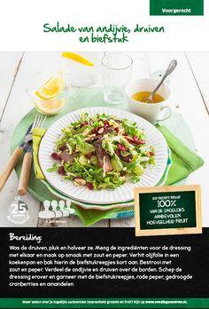 Recept voor een salade van andijvie, druiven en biefstuk #Lidl