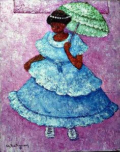 "Kids room - ""Fille Avec Parasol Vert"" by Calixte Henry (Haiti) Puff The Magic Dragon, Haitian Art, Caribbean Art, Under My Umbrella, Fashion Sketches, Black Art, Cool Art, Street Art, Canvas Art"