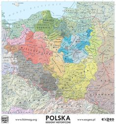 Historical lands and regions of Poland Old World Maps, Old Maps, Poland Map, European Map, European History, Poland History, Strategy Map, Nose Art, Fantasy Inspiration
