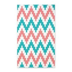 coral and teal chevron area rug