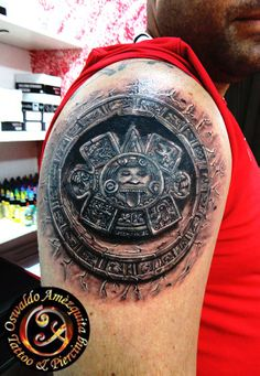 Realistic Tattoo Aztec Calendar Center