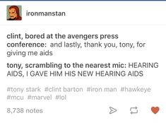 Tony has a whole PR team on standby just for Clint Avengers Memes, Marvel Memes, Marvel Dc Comics, Marvel Avengers, Clint Barton, Stucky, Marvel Funny, The Villain, Marvel Characters