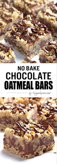 Bake Chocolate Oatmeal Bars The only thing easier than making these no-bake chocolate oatmeal bars is eating them.The only thing easier than making these no-bake chocolate oatmeal bars is eating them. Brownie Desserts, Mini Desserts, Oreo Dessert, Dessert Bars, No Bake Desserts, Easy Desserts, Delicious Desserts, Dessert Recipes, Yummy Food
