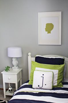 Love the silhouette cameo & lettered pillow idea! mix with their favorite bold color & white