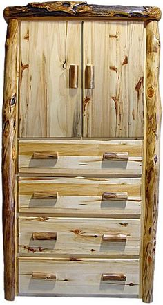 Aspen Log Armoire with 4 Drawers and 2 Doors - Flat Front