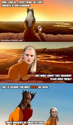 Skyrim One Shots Hobbit Funny, O Hobbit, Legolas And Thranduil, Tauriel, Thranduil Funny, Fili Et Kili, Funny Memes, Hilarious, It's Going Down