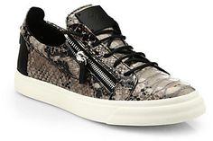 Giuseppe Zanotti Double-Zip Snake-Print Leather Sneakers