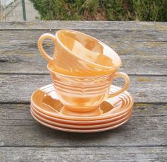 Vintage Fire King Peach Lustre Ware Two Cups Four Saucers