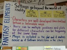 Fantasy charts and a class play on reading strategies and the genre of fantasy!