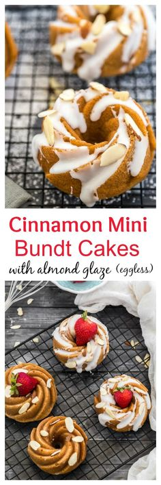 Cinnamon Mini Bundt Cakes with Almond Glaze are great for a tea party or to snac. , Cinnamon Mini Bundt Cakes with Almond Glaze are great for a tea party or to snack on. They are also eggless! Mini Desserts, Just Desserts, Delicious Desserts, Mini Tortillas, Bunt Cakes, Cupcake Cakes, Cupcakes, Mini Bundt Cake, Cheesecake Recipes
