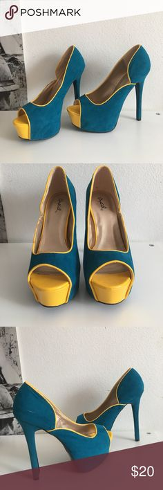 """Quipid Platform Stilettos Super cute suede heels. Some minor wear shown in photos, piece of suede slightly coming off(4th photo). Size 7.5. Heel height 5.5"""" with a 1.5"""" platform Qupid Shoes"""