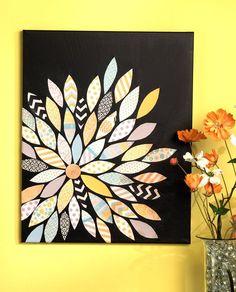 Easy canvas art diy wall decor scrapbook paper Ideas for 2019 Flower Canvas Art, Easy Canvas Art, Easy Canvas Painting, Canvas Crafts, Diy Canvas, Flower Art, Canvas Wall Art, Paper Crafts, Diy Crafts