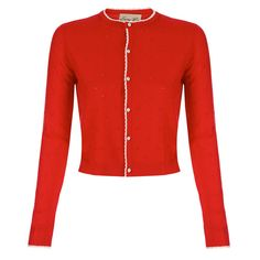 Bergman Red Knitted Cardigan | Vintage Style Knitwear - Lindy Bop