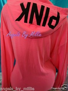 NEW Victoria's Secret PINK XS Neon Coral Pink Black Funnel Neck Pullover Hoodie