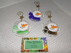 Snowman Ornament - Fused Glass. via Etsy.