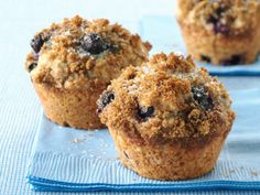 Blueberry Muffins:  Whole wheat flour, a touch of honey and frozen organic blueberries star in classic blueberry muffins.