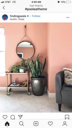 Left wall to the Balcony Door. Pink Room, Home Room Design, Wall Decor Bedroom, Pink Living Room, Living Room Wall Color, Girl Bedroom Decor, Salmon Bedroom, Master Bedrooms Decor, Pink Bedroom Walls
