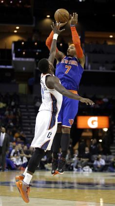 New York Knicks forward Carmelo Anthony shoots over Charlotte Bobcats forward Michael Kidd-Gilchrist in the second half of an NBA basketball game in Charlotte, N. New York won (AP Photo/Nell Redmond) Basketball Is Life, Basketball Quotes, Nba Basketball, Michael Kidd Gilchrist, New York Knicks, Girlfriends, Cool Pictures, Have Fun, Sports