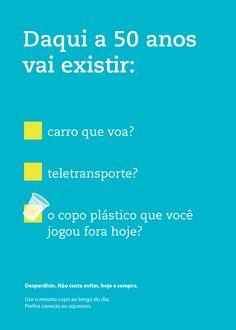Campanha contra o desperdício de copos plásticos na área administrativa da Vale.