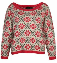 Red Long Sleeve Snowflake Pattern Sweater