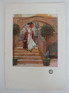 "Edwardian Art print from an early 1900s issue of the Studio Magazine. Printed on ivory coloured paper.  No printing to reverse. Unframed. Sheet measures approx 11.00"" x 7.625"" (28.00 cms x 19.50 cms).  Good margins for framing."