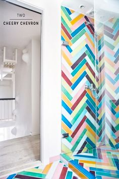 Colorful herringbone tile pattern by Made a Mano. Tuile Chevron, Chevron Tile, Grey Tiles, Marble Tiles, Subway Tiles, Bathroom Tile Designs, Bathroom Colors, Colorful Bathroom, Chevron Bathroom