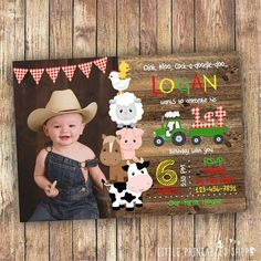 Farm Birthday Invitation Instant Downlaod Barnyard Party - Product Info This Editable Farm Birthday Invitation With The Cutest Farm Animals Is Perfect For Your Little Ones Barnyard Party Just Minutes After Purchasing This Listing Youll Have Acc Farm Animal Birthday, Cowboy Birthday, 1st Boy Birthday, Boy Birthday Parties, Photo Birthday Invitations, Farm Party Invitations, Personalized Invitations, Barnyard Party, Birthday Photos