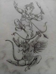 งานศิลป์ Ganesha Tattoo, Ganesha Art, Krishna Art, Ganesha Sketch, Lord Shiva Sketch, Arte Shiva, Easy Scenery Drawing, Hindu Statues, Ganesh Wallpaper