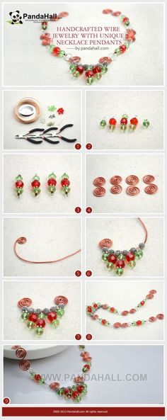 Jewelry Making Tutorial--DIY Unique Wire Necklace with Glass Beads How To Make Necklaces, Unique Necklaces, Unique Jewelry, Handmade Wire Jewelry, Beaded Jewelry, Beaded Bracelets, Ideas Joyería, Do It Yourself Fashion, Wire Necklace