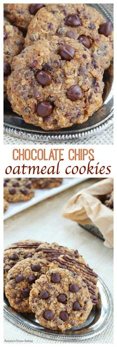 Soft and chewy with slightly crisp edges, these chocolate chip oatmeal cookies are full of flavor and packed with chocolate goodness in every bite.}}}}} just gonna leave the caption as is ; Oatmeal Chocolate Chip Cookie Recipe, Oatmeal Cookie Recipes, Oatmeal Cookies, Cookie Desserts, Chocolate Recipes, Just Desserts, Delicious Desserts, Dessert Recipes, Yummy Food