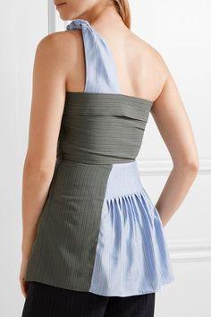J.W.Anderson | One-shoulder striped crepe and silk-twill peplum top | NET-A-PORTER.COM