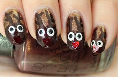 Maak je nagels met kerst extra speciaal met deze rendier nail art!  Klik op de afbeelding voor een (Engelstalige) tutorial!  Natural Light Easy Christmas Nails Nail Art Tutorial