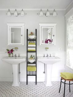 When I'm rich, would like to do this for the downstairs hallway bathroom and get rid of the large single vanity.  Also, love the gray, white, and green combo.    Design Tip: When installing wall panels in a damp area such as a bathroom, consider using urethane beaded board, a low-maintenance material that won't rot or warp when exposed to moisture.
