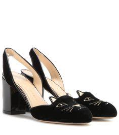 CHARLOTTE OLYMPIA  Kitty Cat Black & Gold Velvet Slingback Pumps