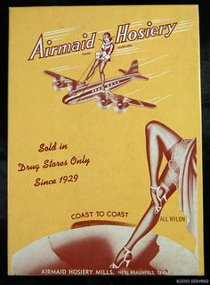 Vintage Lingerie Airplane and stockings. Vintage Advertising Posters, Vintage Advertisements, Vintage Ads, Vintage Photos, Advertising Ads, Nylons, Vintage Stockings, Nylon Stockings, Female Avatar