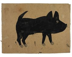 "Bill Traylor (1854-1949). Black Pig. Poster Paint and Pencil on Cardboard. Circa 1939-1942. 11"" x 15""."