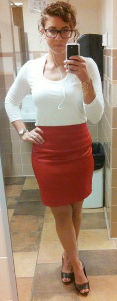 9/24/14--White shirt,red skirt, dark brown peep toe pumps, smokey stone earrings. gold cuff, silver watch.