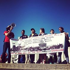 Protesters gather outside the Lincoln Memorial to protest Michigan's affirmative action ban. Today the U.S. Supreme Court is hearing arguments about the constitutionality of Michigan's ban.